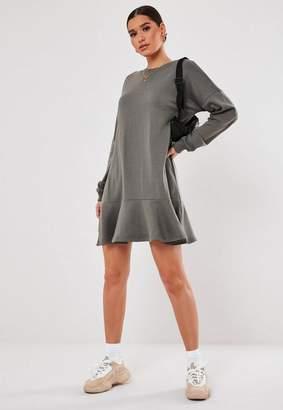 Missguided Dark Gray Frill Hem Sweater Dress