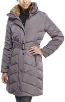 Cole Haan Faux Fur Trim Belted Coat