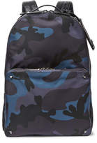 Valentino Leather-trimmed Camouflage-jacquard Shell Backpack - Blue