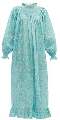 Loretta Caponi - Smocked Floral-print Cotton Maxi Dress - Womens - Blue Multi