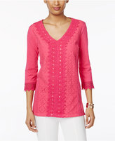 JM Collection Sequined Lace Cotton Top, Only at Macy's