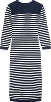 J.Crew Liv Striped Wool-blend Midi Dress - Navy