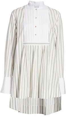 Marina Moscone High-Low Pinstripe Shirtdress
