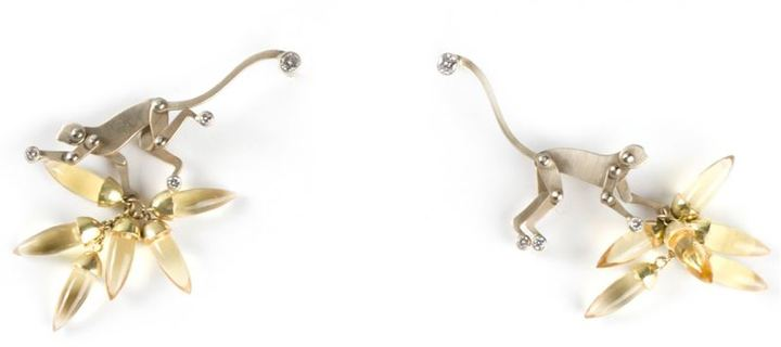 Marc Alary 18kt white gold monkey earrings