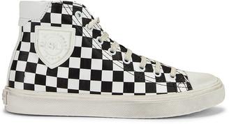 Saint Laurent Bedford Checkered Mid Top Sneakers in Black & White   FWRD