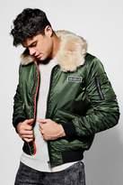 Boohoo Ma1 Jacket With Oversized Faux Fur Collar