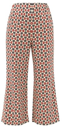 Gucci Horse-bit Print Cropped Crepe Trousers - Womens - Ivory
