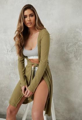 Missguided Khaki Soft Touch Rib Midi Loungewear Cardigan