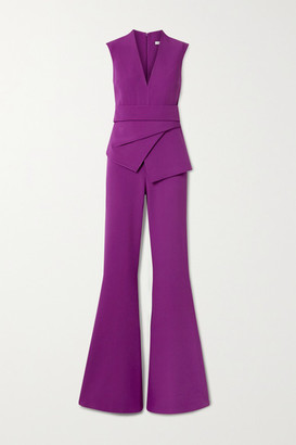 Safiyaa Reyanna Layered Stretch-crepe Flared Jumpsuit - Violet