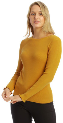Basque Ribbed Lettuce Cuff Jumper