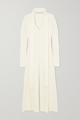 Chloé Tie-neck Ribbed Wool And Silk-blend Midi Dress - White
