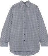 Balenciaga Oversized Checked Cotton-blend Poplin Shirt - Navy
