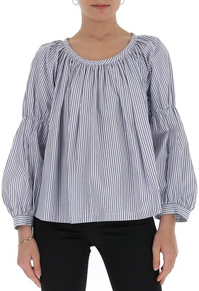 Comme des Garcons Striped Pleated Blouse