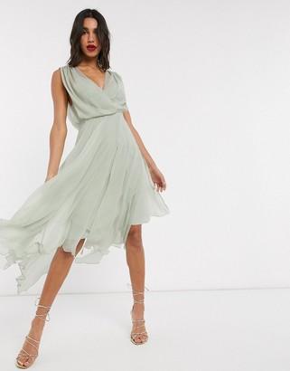 ASOS DESIGN wrap bodice midi dress with drape back