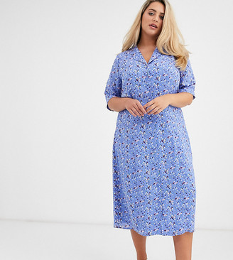 Fashion Union Plus midi fitted shirt dress in blue floral-Multi