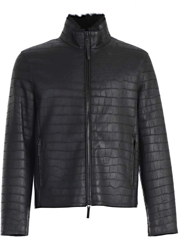 Emporio Armani Textured Leather Jacket
