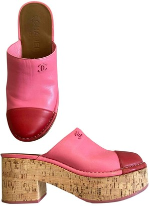 Chanel Pink Leather Mules & Clogs