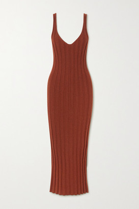 KHAITE Louis Ribbed Cashmere Dress - Burgundy