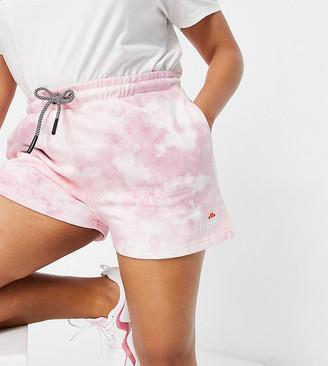 Ellesse Plus tie dye shorts in pink