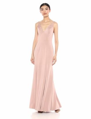 Jenny Yoo Women's Jade V Neck Long Crepe Gown