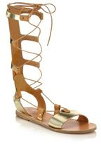 Ancient Greek Sandals Thebes Metallic Leather Tall Gladiator Sandals