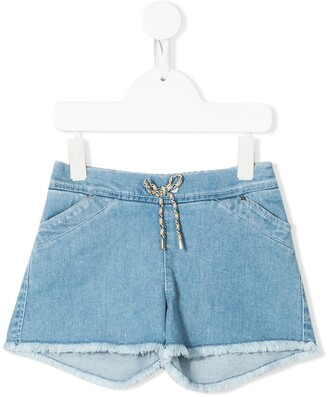Chloé Kids Drawstring Waist Denim Shorts