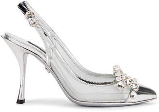 Dolce & Gabbana Bow Slingback Heels in Silver   FWRD
