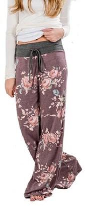 Lilly Posh Lucky Star Women's Floral Drawstring High Waist Wide Leg Pants (X-Large, Grey Waist/Burgundy
