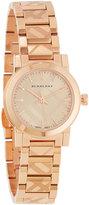 Burberry 26mm Rose Golden Check-Stamped Bracelet Watch, Pink