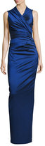 Talbot Runhof Nocky Stretch-Taffeta Column Gown, Blue