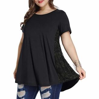 Ttlove Women TTlove T-Shirt Tops Women Summer Cold Shoulder Loose Casual Short Sleeve Blouse Plus Size Ladies Elegant Strapless Lace Top