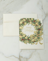 Carlson Craft 50 Illustrated Wreath Christmas Cards with Plain Envelopes