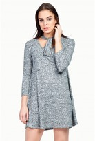 Select Fashion Fashion Womens Grey Pussy Bow Ribbed Swing Dress - size 6