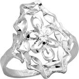 Sabrina Silver Sterling Silver Floral Filigree Ring, 3/4 inch, size 7.5