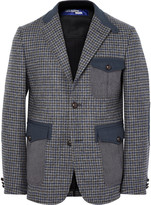 Junya Watanabe - Grey Slim-fit Twill-trimmed Houndstooth Wool Blazer