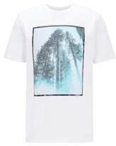 HUGO BOSS - Crew Neck T Shirt In Cotton With Mixed Print Artwork - White