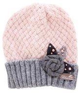 Miss Blumarine Girls' Rosette-Accented Rib Knit Beanie