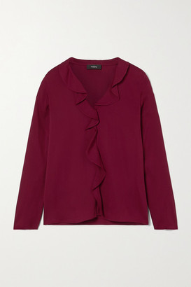 Theory Ruffled Silk-blend Crepe De Chine Blouse - Red
