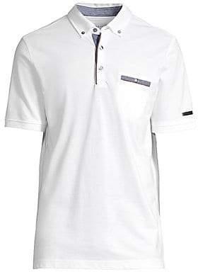 Bugatti Men's Button-Down Chest Pocket Polo Shirt