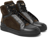 Balmain - Atlas Suede And Leather High-top Sneakers
