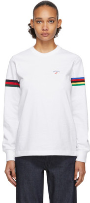 Noah NYC White Stripe Winged Foot Rugby Long Sleeve T-Shirt