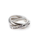 Vivienne Westwood Sterling Silver Dustin Ring Black CZ/Enamel Size XL