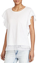Lauren Ralph Lauren Lace-Hem Stretch Cotton Tee