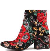 Django & Juliette Boskras Black&red flora Boots Womens Shoes Dress Ankle Boots