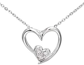 Camilla And Marc Naava Women's 9 ct White Gold Pave Set Diamond Double Heart Pendant and Chain Necklace of 46 cm