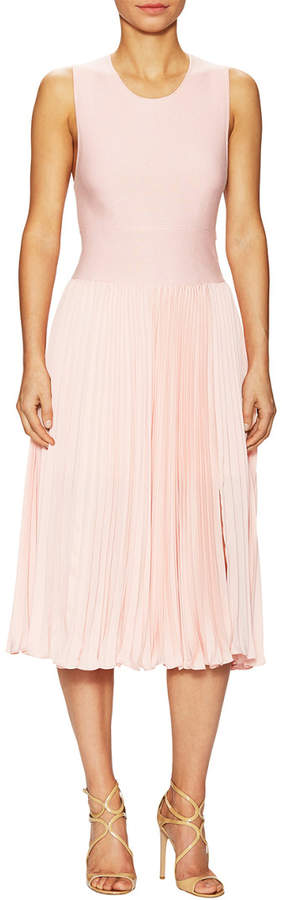 Halston All Over Cross Back Flared Dress