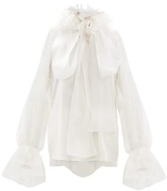 Roksanda Luana Feathered Silk-satin Organza Blouse - Womens - Ivory