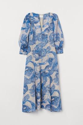 H&M Mosaic-patterned Silk Dress - Blue