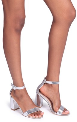 Barely There Linzi Sesame Silver Metallic Block Heeled Sandals