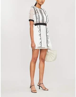 Self-Portrait Contrast-trim guipure lace and crepe mini dress